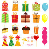 Gift box and other birthday elements Stock Images