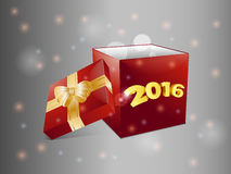 Gift box 2016 over glowing background. Christmas Red Gift Box with 2016 Over Glowing Background stock illustration