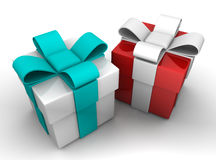 Gift box over white background 3d Royalty Free Stock Photo