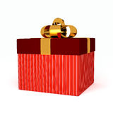 Gift box over white background. Computer generated image Royalty Free Stock Photo