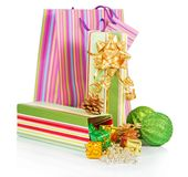 Gift box, package, green balls and christmas Stock Photo