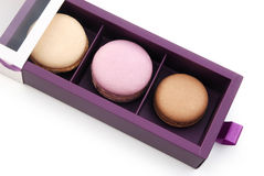 Gift box packaging of macaroons Stock Image