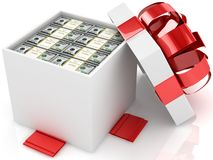 Gift box with packs of 100 dollar banknotes. 3D vector illustration