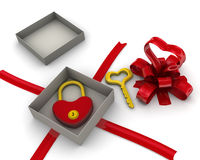 Gift box with padlock and key in the form of heart Royalty Free Stock Photos