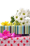 Gift box - path. Stacked gift boxes with flowers Stock Images