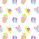 Gift box pattern. Vector illustrated cartoon pattern with different gift boxes Royalty Free Stock Photography