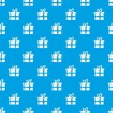 Gift in a box pattern seamless blue. Gift in a box pattern repeat seamless in blue color for any design. Vector geometric illustration Royalty Free Stock Photo