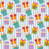 Gift box pattern. Vector Seamless Gift box pattern with blue strip Stock Photos