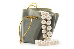 Gift box and pearl Royalty Free Stock Photo