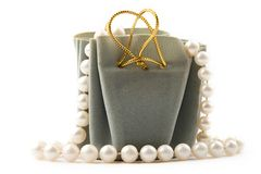 Gift box and pearl Royalty Free Stock Photos