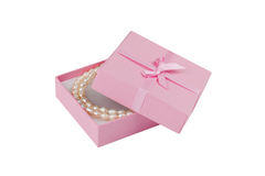 Gift box with pearl necklace; Clipping path Stock Photo
