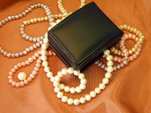Gift box and pearls Royalty Free Stock Photo