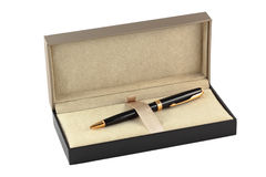 A gift box with a pen Royalty Free Stock Photo