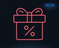 Gift box with Percentage line icon. Present. Neon light. Gift box with Percentage line icon. Present or Sale sign. Birthday Shopping symbol. Package in Gift Stock Images