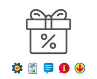Gift box with Percentage line icon. Present. Gift box with Percentage line icon. Present or Sale sign. Birthday Shopping symbol. Package in Gift Wrap. Report Royalty Free Stock Photo