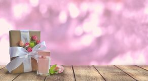 Free Gift Box, Perfume With Empty Table On Pink Glooming Background. Royalty Free Stock Photography - 151112307