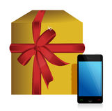 Gift box and phone. Illustration design over white Royalty Free Stock Photo