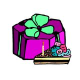 A gift box, a piece of a festive cake with a candle, doodle. Vector illustration on isolated background. royalty free stock image