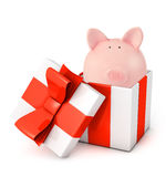 Gift box with piggy bank Royalty Free Stock Photography