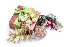 Gift box pine cone beads bow Stock Photo