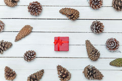 Gift box and and pine cone Stock Photography
