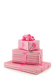 Gift box with pink bow isolated on white background Stock Images