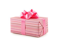 Gift box with pink bow isolated on white background Royalty Free Stock Photography