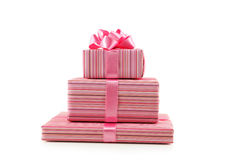 Gift box with pink bow isolated on white background Royalty Free Stock Images