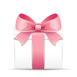 Gift box with a pink bow Royalty Free Stock Image