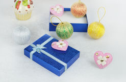Gift box with pink hearts Stock Images