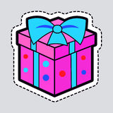 Gift Box. Pink New Year Present with Blue Ribbon Stock Photo