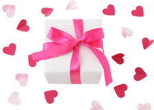 Gift box with pink ribbon Royalty Free Stock Images