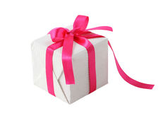 Gift box with pink ribbon bow Stock Photos