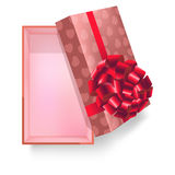 Gift box with pink ribbon flower and heart pattern vector 3d icon Stock Photos