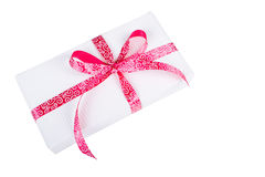 Gift box with pink ribbon Royalty Free Stock Photos