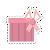 Gift box pink ribbon surprise stripes line dotted Royalty Free Stock Image