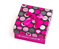Gift box with Pink ribbon on white background Stock Photo