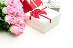 gift box with pink rose flower for lover valentine Stock Images