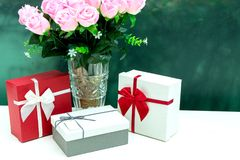 Gift box with pink rose flower for lover valentine. For background Royalty Free Stock Photos