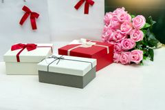 Gift box with pink rose flower for lover valentine. For background Royalty Free Stock Photography