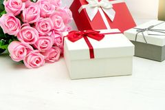 gift box with pink rose flower for lover valentine Royalty Free Stock Photography
