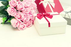 gift box with pink rose flower for lover valentine Stock Photos