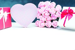 gift box with pink rose flower for lover valentine Royalty Free Stock Image