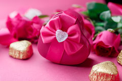 Gift box, Pink roses and candy. Valentines Day Stock Photos