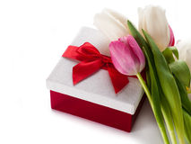 Gift box with pink tulips Royalty Free Stock Photo