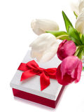 Gift box with pink and white  tulips Royalty Free Stock Photography