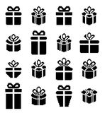 Gift box pixel icons, holiday presents. Royalty Free Stock Photography
