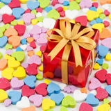 Gift box is placed on the heart Royalty Free Stock Photos