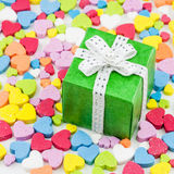 Gift box is placed on the heart Royalty Free Stock Photography