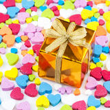 Gift box is placed on the heart Royalty Free Stock Photo